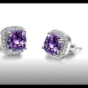 .925 Sterling Silver 4 Carat Amethyst Earrings